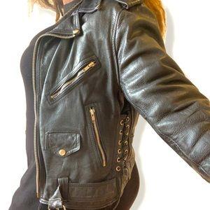 Host pick Vintage thick black moto biker jacket